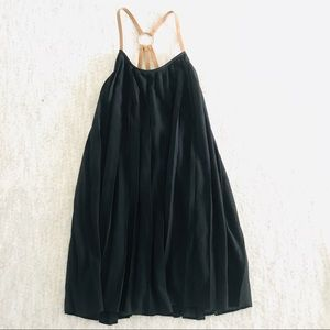 Entro Black Pleated Dress with Faux Suede Straps